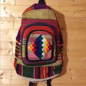 Handbags - Rainbow striped hemp hippie backpack